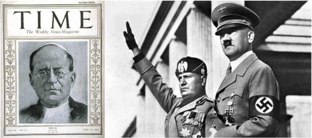 El papa Pío XI en la portada de la revista TIME. La publicación lo llevaría dos veces a esta destacada posición durante su reinado. - Benito Mussolini saluda a una concentración nazi en compañía de Adolfo Hitler.
