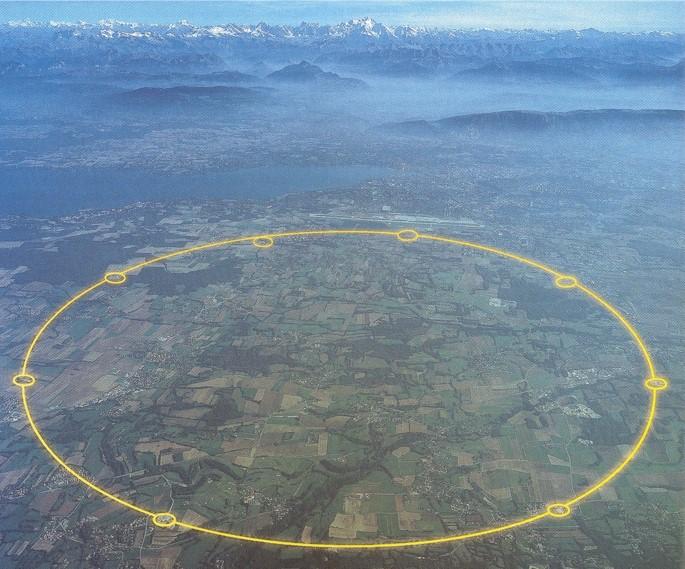 <i> El lago Lemán y los Alpes, escenario del LHC de CERN</i>
