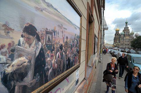 Copia de La procesión de Pascua (Illarion Pryanishnikov) en calle de San Petersburgo