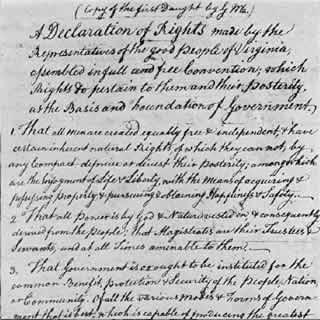 Inicio de la Declaración de Virginia