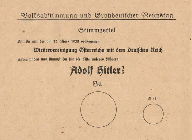 Boleta del referéndum sobre la anexión de Austria en 1938