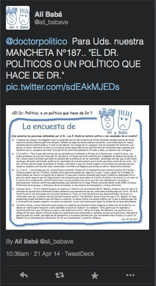 El tuit de Alí Babá, 21 de abril de 2014