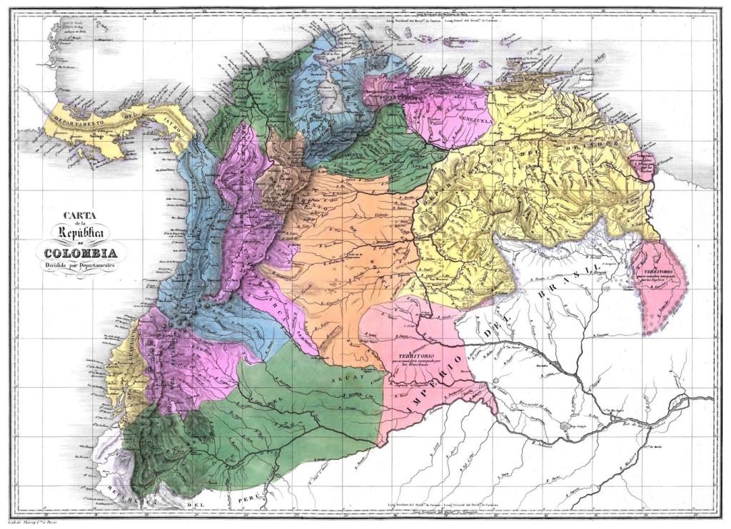 Mapa de la Gran Colombia con la Guayana Esequiba (clic amplía)
